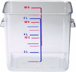 Rubbermaid Commercial Space Saving Food Storage Container, 6 Quart, (Space Saving Waste Container)