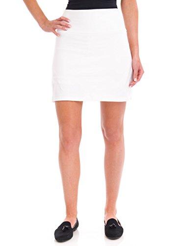 (Teez-Her Women's Tummy Control Low Waist 17 Skort, White, Large)