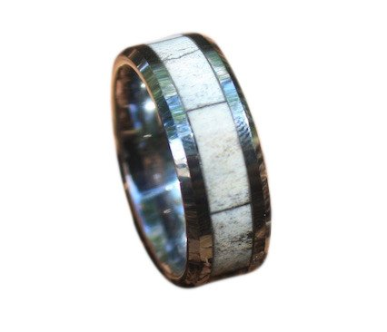 Mens Tungsten Real Whitetail Deer Antler Ring with Beveled Edge, Comfort Fit, 8mm, Size 11