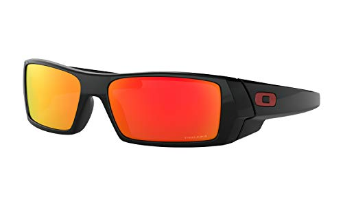 Oakley Gascan Sunglasses (Polished Black Frame, Prizm Ruby Lens) with Lens Cleaning Kit and Country Flag ()