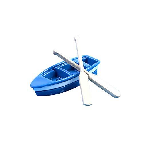 yanQxIzbiu Garden Resin Decor, 1Pc Boat + 2Pcs Oar Miniature Simulated Model Dollhouse Art Bonsai Garden Decor