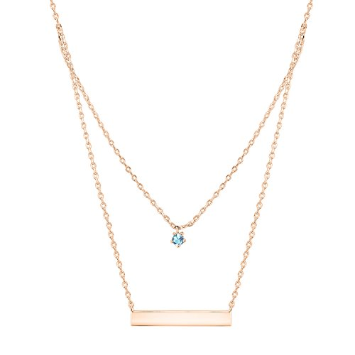 - PAVOI 14K Rose Gold Plated Swarovski Crystal Birthstone Bar Necklace Pendant Engraveable March