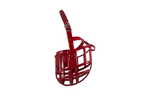 Birdwell Enterprises - Plastic Dog Muzzle with Adjustable Plastic Coated Nylon Headstall - Made in The USA - (Medium, Red)