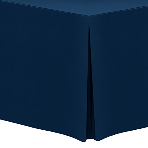 (Ultimate Textile -2 Pack- 4 ft. Fitted Polyester Tablecloth - Fits 24 x 48-Inch Rectangular Tables, Navy Blue)