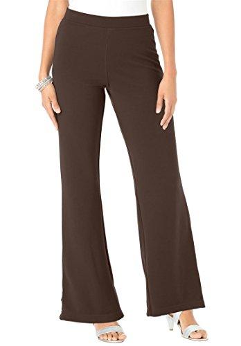 Women's Plus Size Petite Bootcut Ponte Knit Pants Black,22 Wp