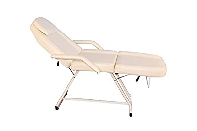 Barberpub 75'' Creme White Beauty Bed Salon SPA Facial Tattoo Chair Adjustable Massage Table 6154-0015W