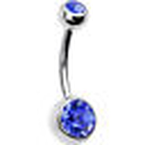 Rolex Jewells 1.6mm(14G) Jewelry Belly Navel Button Ring White Gold Finish Silver Plated w/ 2ct Blue Sapphire