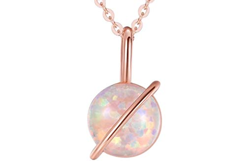 - Ellena Rose Planet Opal Necklace, 925 Sterling Silver, Dainty Opal Planet Necklace, Adjustable Length Opal Necklace, Small Opal Necklace, Simple Necklace