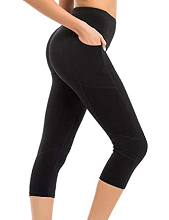 coastal rose Women's Yoga Pants 3/4 Workout Leggings Crop Sports Tights with Side Pocket - - Small