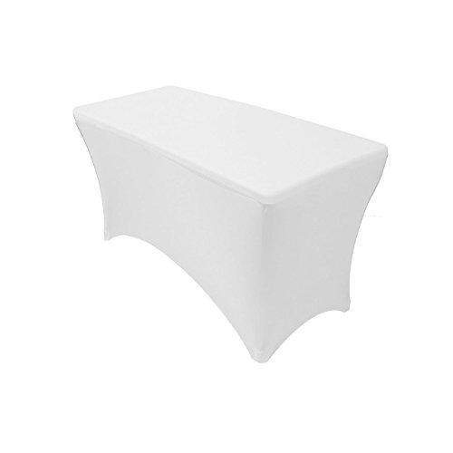 Your Chair Covers 4' Rectangular Fitted Stretch Spandex Table Cover, White