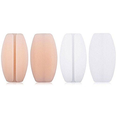 Silicone Bra Strap Cushions Soft Holder Non-slip Shoulder Protectors Pads 2 Pairs ... (White&Nude)