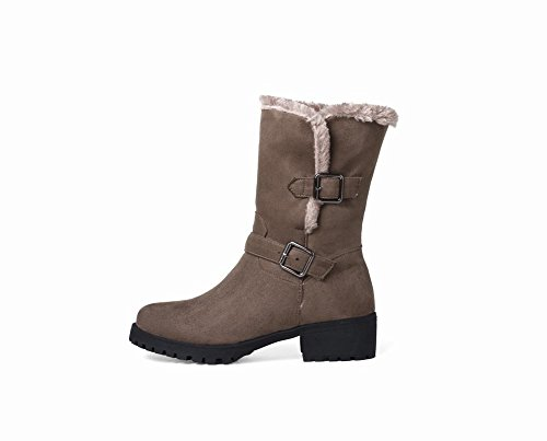 Carolbar Womens Warm Buckle Comfort Casual Snow Boots Tacco Basso Marrone