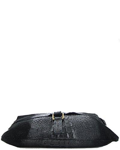 histoireDaccessoires - Bolso con Bandolera de Cuero de Mujer - SA098623GR-Santo Negro