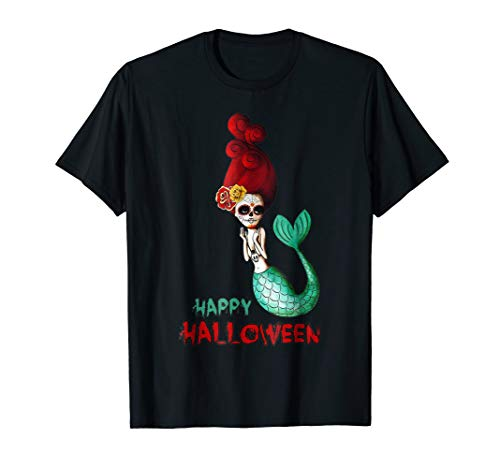 Mermaid Sugar Skull Funny Halloween Costume Scary Gift