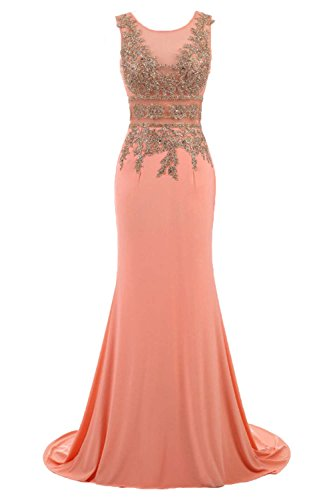 Huifany Shiny Gold Lace Long Mermaid Formal Prom Pageant Evening Dresses Sheer Coral,US8