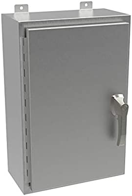 Amazon Com Hammond Manufacturing Hw242412sshk Nema 4x Smooth Brushed 304 Stainless Steel Hinge Door Wall Mount Enclosure With Handle And Knockout 24 Inch X 24 Inch X 12 Inch Natural Electronics