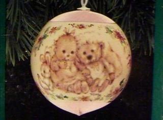 (QX2227 Baby's First Christmas Baby Girl Satin Ball 1991 Hallmark Keepsake Ornament)