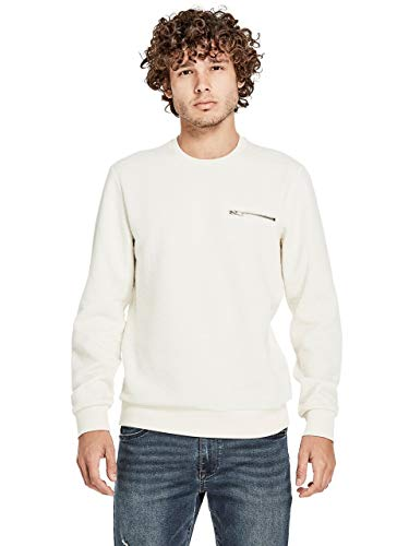 G by GUESS Men's Nico Quilted Sweatshirt White ()