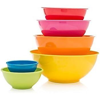 Francois et Mimi 6 Piece Colorful 100% Melamine Mixing Bowls, Mixing Bowl Set (Classsic)
