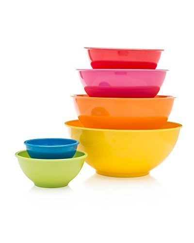 Francois et Mimi 6 Piece Colorful 100% Melamine Mixing Bowls, Mixing Bowl Set (Classsic) (Plastic Mixing Bowls Set compare prices)