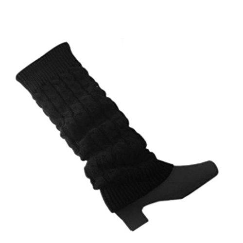 Sanwood Women's Braided Knitted Leg Warmers (Black)