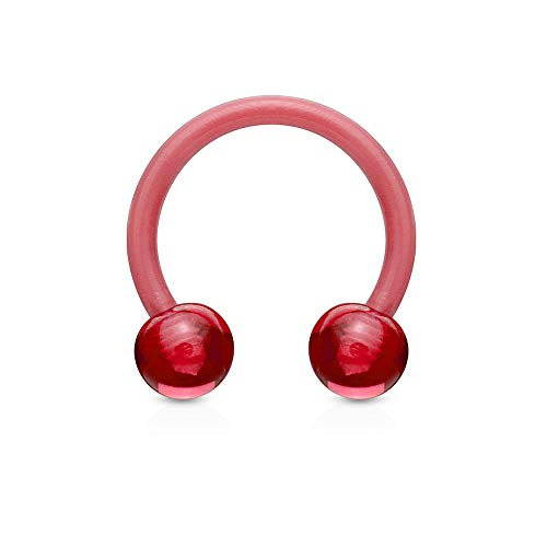 Covet Jewelry All Acrylic Flexible Horse Shoe (14GA, Length: 12mm, Ball: 5mm, Red)