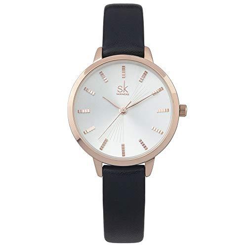 Women Watches Leather Band Luxury Quartz Watches Girls Ladies Wristwatch Relogio Feminino (9017 White Black)