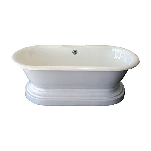 """Barclay CTDRNB-WH Cast Iron Double Roll Top Tub with Base, 67"""", White"""