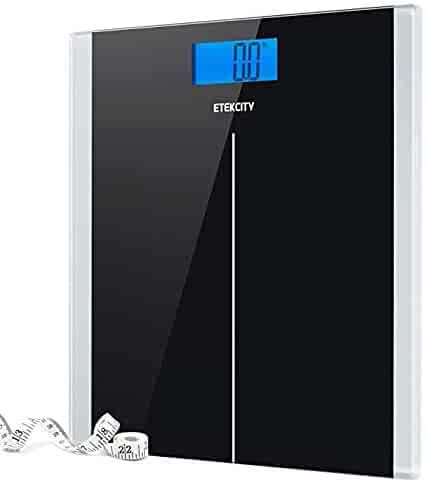 Etekcity Digital Body Weight Bathroom Scale With Step-On Technology, 400 Lb, Body Tape Measure Included, Elegant Black
