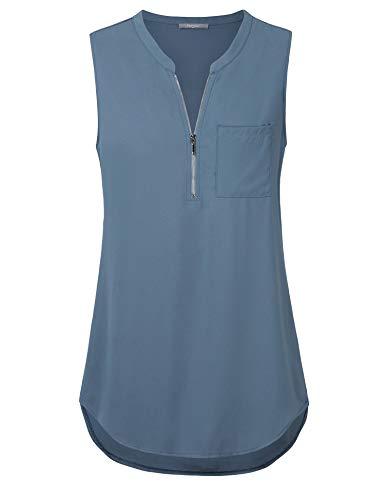 Furnex Women Sleeveless Blouse, Womens Casual T-Shirt V Neck Patterned Office Chiffon Tunic Tops Women Chiffon Blouse Elegant Loose Shirts for Women Business Blue Grey L