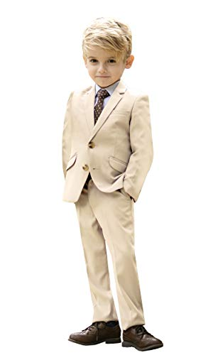 Black n Bianco Signature Boys' Slim Fit Suit Complete Outfit (12, Khaki)