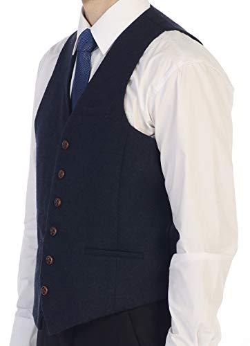 - Gioberti Men's 6 Button Custom Formal Tweed Vest, Herringbone Navy, X Small