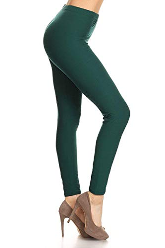 LDR128-Forest Green Basic Solid Leggings, One Size ()