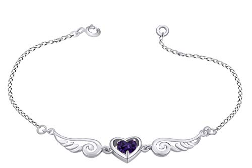14k White Gold Over Sterling Silver Simulated Alexandrite Angel Wings with Heart Chain Bracelet