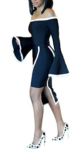 Ainr Femmes Hors Robes Midi Manches Cloche Robe Épaule Moulante Cocktail Noir