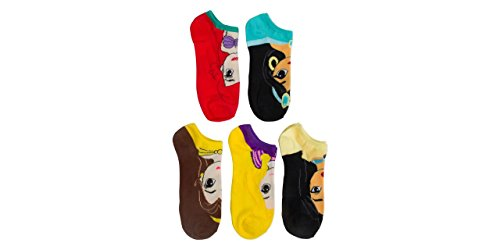 Disney Women's Princess 5 Pack No Show Socks, Big Face, Fits Size 9-11 Fits Shoe Size -