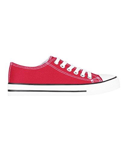 KRISP Zapatillas Mujer Casuales Deportiva Barata Lona Moda Originales Outlet Rojo (2345)