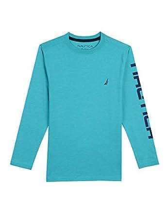 Nautica Toddler Boys' Long Sleeve Solid Crew Neck T-Shirt, Shaun Teal, 2T