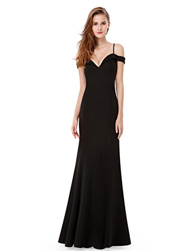 Ever-Pretty Womens Off Shoulder Sweetheart Neckline Long Black Tie Affair Dress 6 US Black