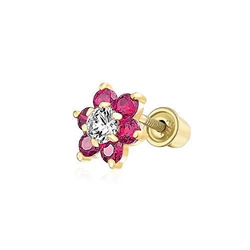 Red Cubic Zirconia Flower Helix Cartilage Ear Lobe Piercing Daith CZ 1 Piece Stud Earring Real 14K Gold Screwback 4MM ()