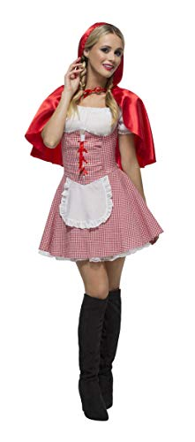 Smiffys Women's Fever Red Riding Hood Costume, Dress, Attached Underskirt and Cape, Once Upon a Time, Fever, Size 6-8, 27043 for $<!--$16.15-->