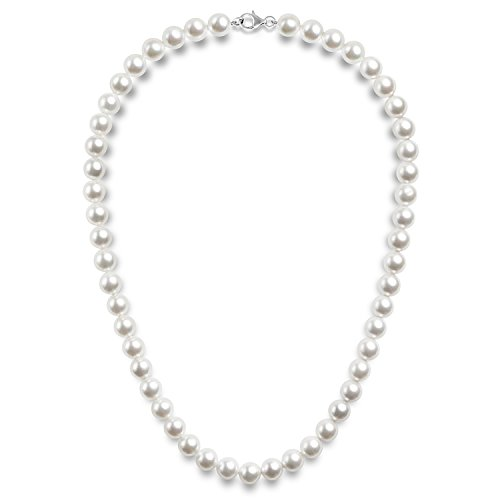 PAVOI Sterling Silver Round White Simulated Shell Pearl Necklace Strand   Pearl Choker Necklace   Jewelry for Women - 22