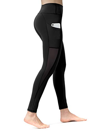ALONG FIT Women Mesh Leggings with Cell Phone Pockets Gym Yoga Tights Mid-Waist Running Pants
