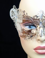 Laser Cut Venetian Halloween Masquerade Mask Costume Extravagant and Elegant Finely Detailed Foxy Inspire Design - Silver w/ (Extravagant Masquerade Masks)