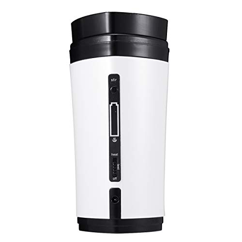 (USB Coffee Cup SENREAL Rechargeable Heating Self Stirring Mixing Mug Warmer Coffee Capsule Cup-White)