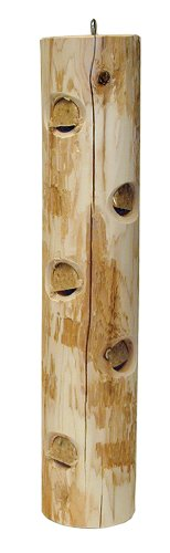 Stovall 13FL Cedar Suet Post Log Feeder For Suet Plugs, White, Large