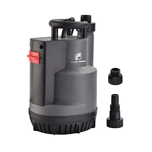 FLUENT POWER Submersible Pump, Automatic ON/OFF, Electric Submersible Water Removal Pump, Prevent Dry Running, Max Flow 2200 GPH, with 3/4