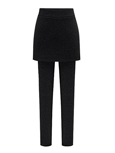 Women's Skirt Leggings Winter Skinny Thick Fleece Lined Elastic Leggings Pant with Package Hip Mini Skirt Black Tag M-US (Skinny Fleece)