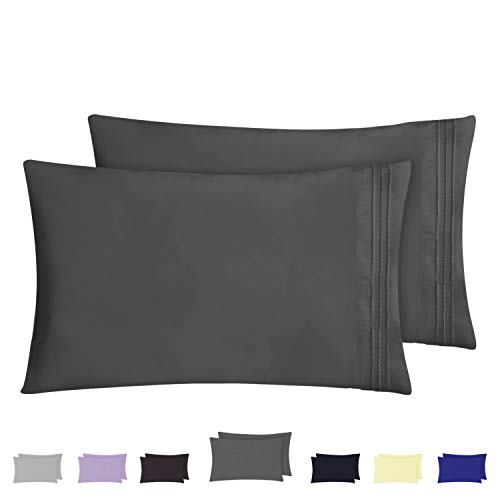 HOMEIDEAS Pillow Cases (King, Deep Gray) - 100% Brushed Microfiber, Ultra Soft - Envelope Closure End - Wrinkle, Fade, Stain Resistant - Set of 2 by HOMEIDEAS