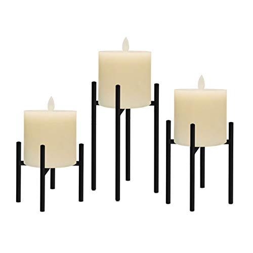 smtyle Pillar Candle Holders Set of 3 Candelabra Ideal for Pillar LED Candles 4 Lines with Black Iron (Holder Candle Wrought Pillar Iron)